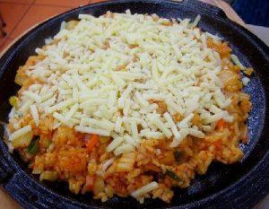 Arroz en capas con zapallo (calabaza) y mozzarella