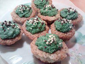 Muffins de chía bañados con frosting