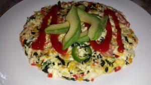 Omelette con clara de huevo y vegetales